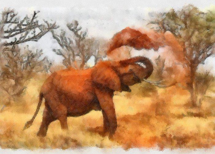 Elephant Greeting Card featuring the painting Sand Bath by Ayse Deniz