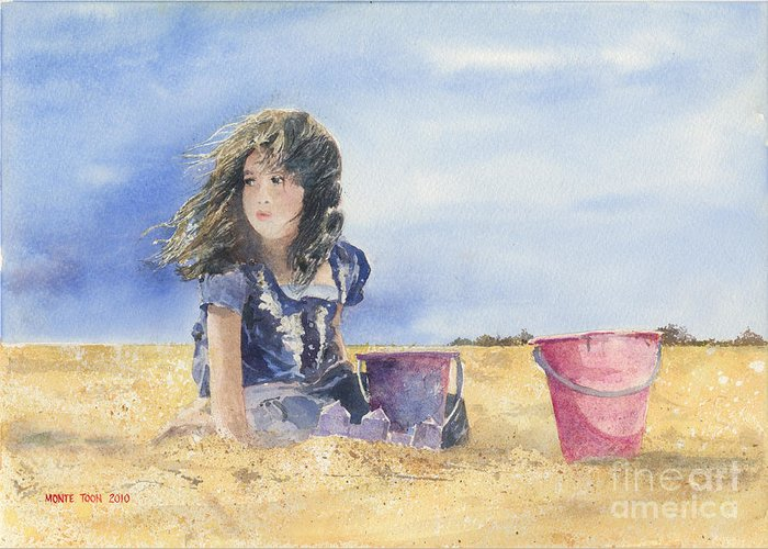 A Young Girl Builds Sand Castles On The Beach. Greeting Card featuring the painting Sand Castle Dreams by Monte Toon