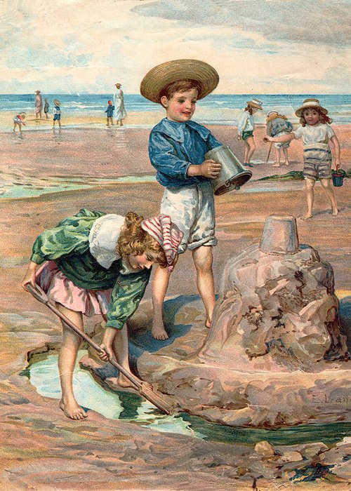 Sand Castles At The Beach Greeting Card featuring the digital art Sand Castles At The Beach by Unknown