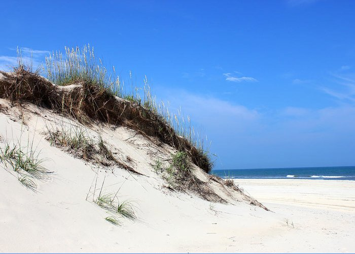 Sand Dunes Of Corolla Outer Banks Obx North Carolina Currituck Duck Ocean Sand View Vista Water Sky Remote Pristine Greeting Card featuring the mixed media Sand Dunes Of Corolla Outer Banks Obx by Design Turnpike