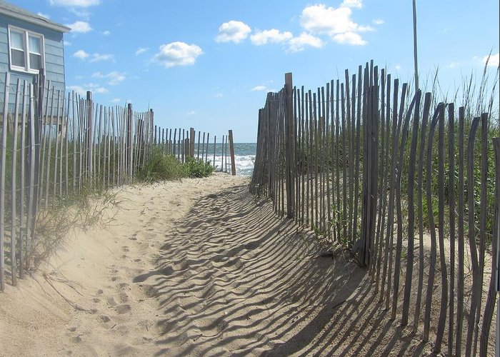 Obx Greeting Card featuring the photograph Sand Fence At Southern Shores by Cathy Lindsey