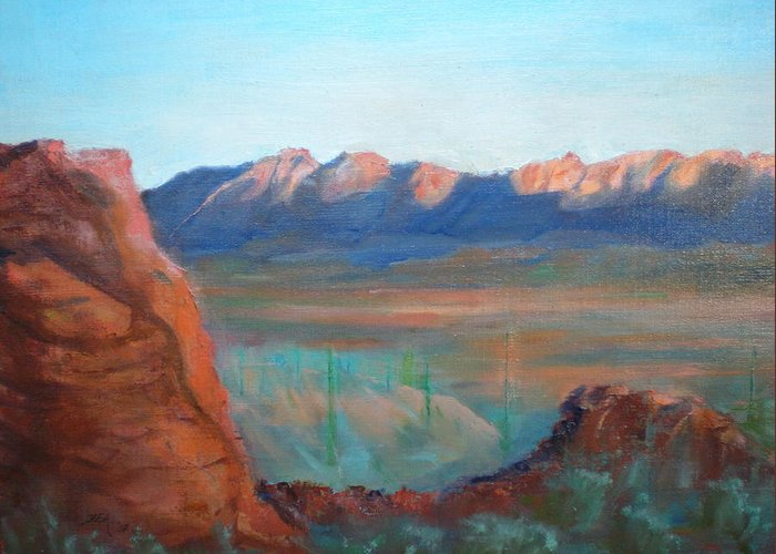 Landscape Greeting Card featuring the painting Sand Hollow Panorama by Bryan Alexander