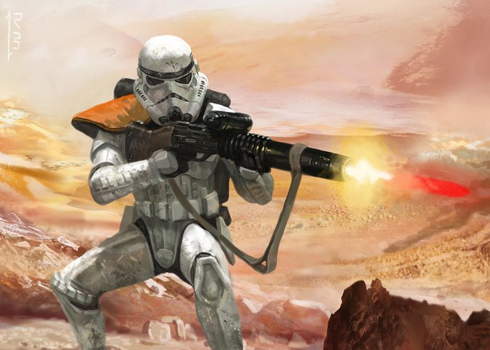 Star Wars Greeting Card featuring the digital art Sand Trooper - Star Wars The Card Game by Ryan Barger