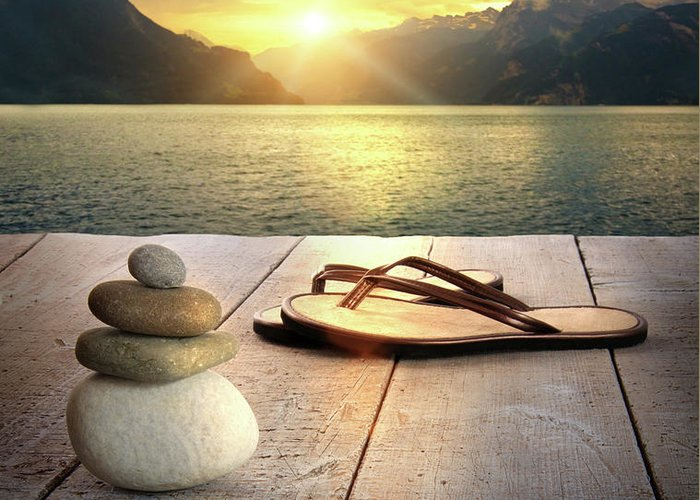 Arrangement Greeting Card featuring the photograph Sandals And Rocks by Sandra Cunningham