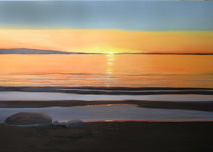Georgian Bay Greeting Card featuring the painting Sandbars Georgian Bay by Cynthia Blair