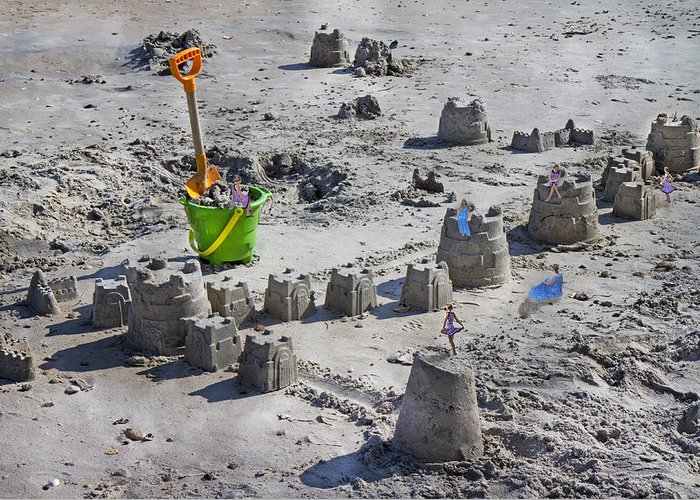 Sandcastle Greeting Card featuring the digital art Sandcastle Squatters by Betsy Knapp