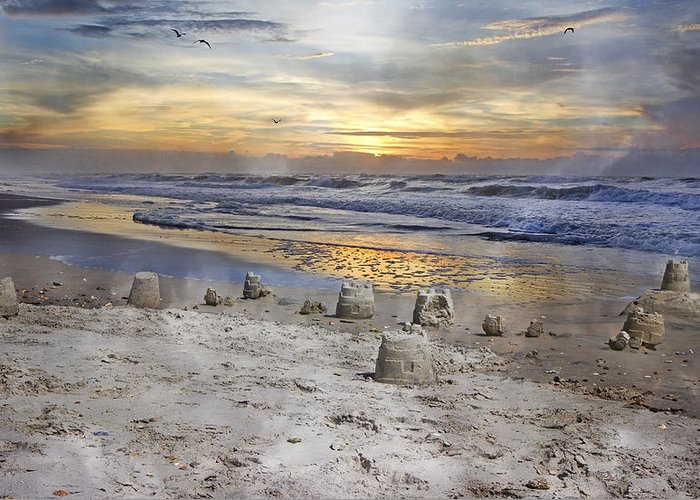Topsail Greeting Card featuring the photograph Sandcastle Sunrise by Betsy Knapp
