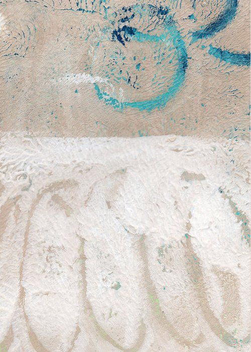 Abstract Greeting Card featuring the painting Sandcastles- Abstract Painting by Linda Woods