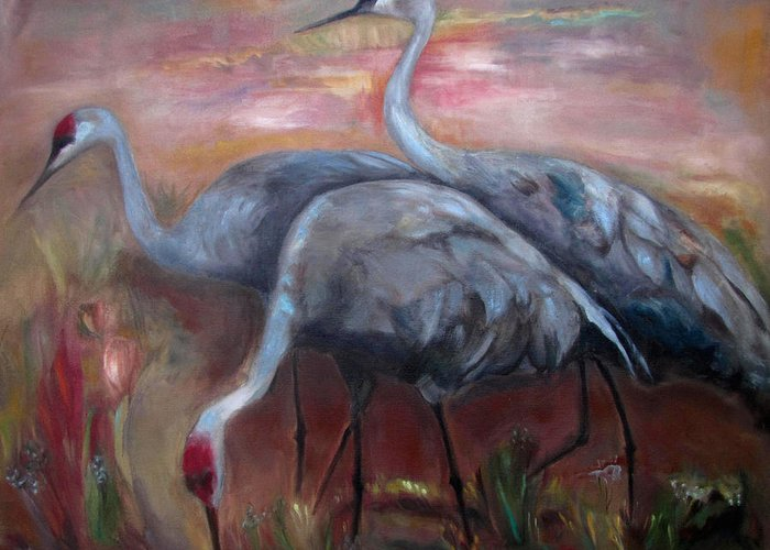 Sandhill Cranes Paintings Greeting Cards