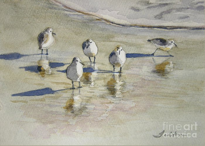Watercolors Greeting Card featuring the painting Sandpipers 2 Watercolor 5-13-12 Julianne Felton by Julianne Felton