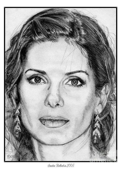 Sandra Bullock Greeting Card featuring the drawing Sandra Bullock In 2005 by J McCombie