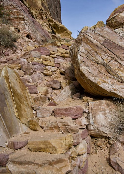 Sandstone Greeting Card featuring the photograph Sandstone Steps by Debby Richards