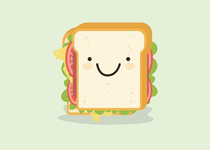 sandwich cartoon vector illustration greeting card for sale by metsi sandwich cartoon vector illustration greeting card