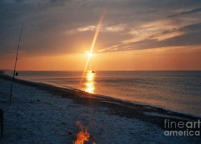 Sandy Neck Beach Greeting Card featuring the tapestry - textile Sandy Neck Beach Sunset by Lisa Marie Germaine