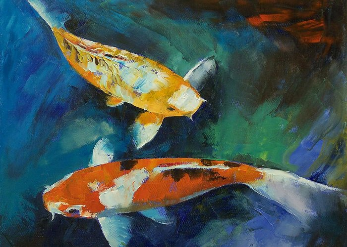 Sanke koi painting greeting card for sale by michael creese for Sanke koi for sale