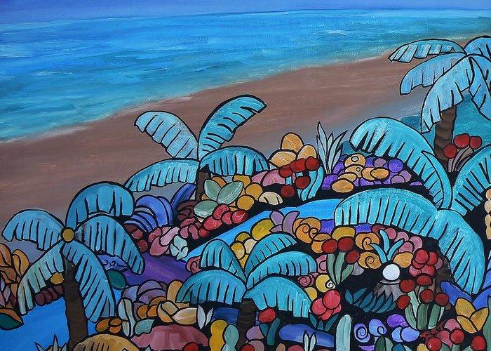 Santa Barbara Beach Greeting Card featuring the painting Santa Barbara Beach by Barbara St Jean