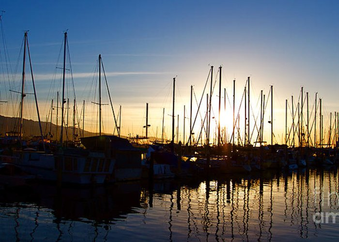 Santa Barbara Greeting Card featuring the photograph Santa Barbara Harbor With Yachts Boats At Sunrise In Silhouette by ELITE IMAGE photography By Chad McDermott