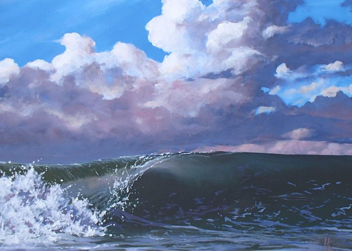 Wave Greeting Card featuring the painting Santa Barbara by Philip Fleischer