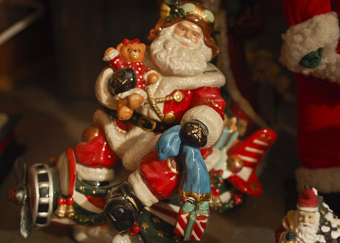 Santa Claus Greeting Card featuring the photograph Santa Claus - Antique Ornament -05 by Jill Reger