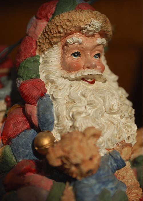 Santa Claus Greeting Card featuring the photograph Santa Claus - Antique Ornament - 09 by Jill Reger