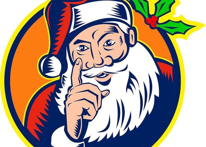 Santa Claus Greeting Card featuring the digital art Santa Claus Father Christmas Retro by Aloysius Patrimonio