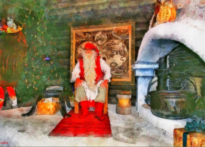Rossidis Greeting Card featuring the painting Santa Claus by George Rossidis