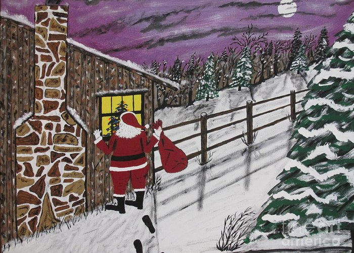Santa Claus Greeting Card featuring the painting Santa Claus Is Watching by Jeffrey Koss