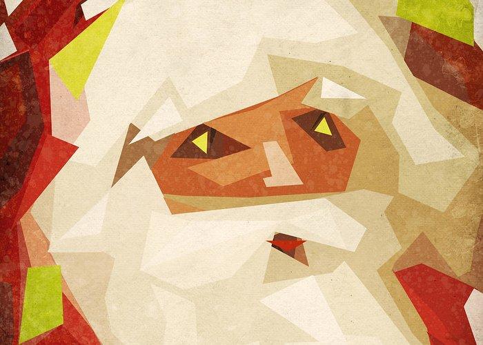 Abstract Greeting Card featuring the painting Santa Claus by Setsiri Silapasuwanchai