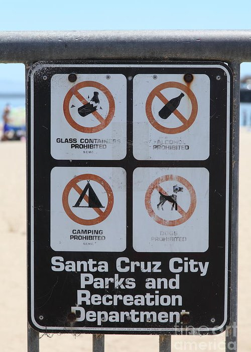 California Greeting Card featuring the photograph Santa Cruz Beach Sign At The Santa Cruz Beach Boardwalk California 5d23840 by Wingsdomain Art and Photography