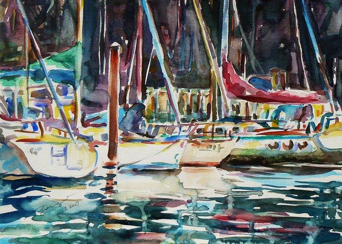 Watercolour Greeting Card featuring the painting Santa Cruz Dock by Xueling Zou