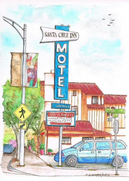 Outdoors Greeting Card featuring the painting Santa Cruz Inn Motel In Riverside - California by Carlos G Groppa