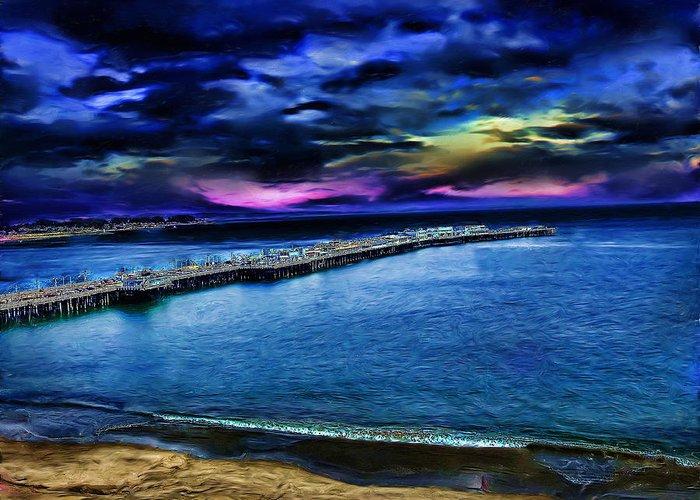 Santa Cruz Pier Digital Art Greeting Cards