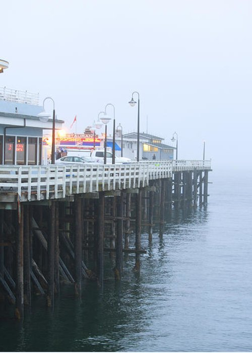 Santa Cruz Pier Greeting Card featuring the photograph Santa Cruz Pier In The Fog by Artist and Photographer Laura Wrede