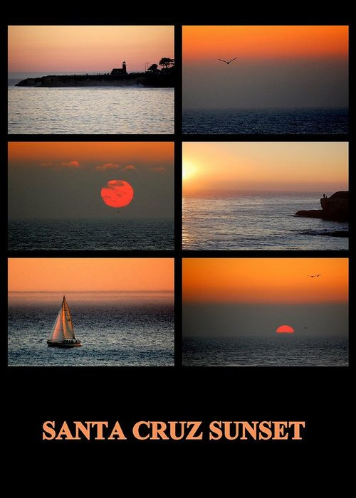 Posters Greeting Card featuring the photograph Santa Cruz Sunset by AJ Schibig