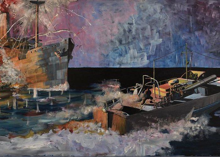 Ship Greeting Card featuring the painting Santa Eliza Martyred by Ray Agius