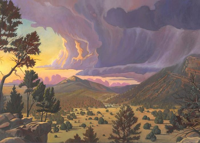 Santa Fe Greeting Card featuring the painting Santa Fe Baldy by Art West