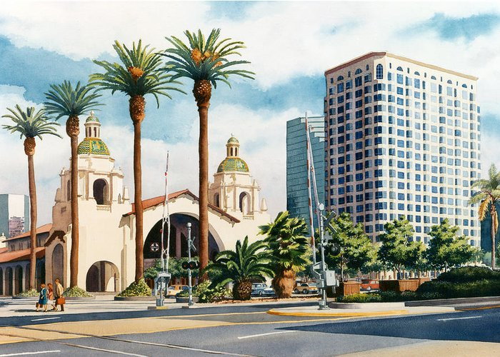 Santa Fe Greeting Card featuring the painting Santa Fe Depot San Diego by Mary Helmreich