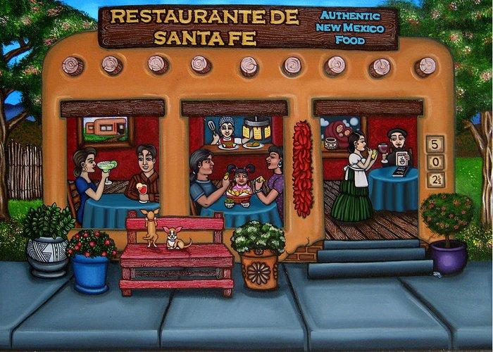 Folk Art Greeting Card featuring the painting Santa Fe Restaurant by Victoria De Almeida