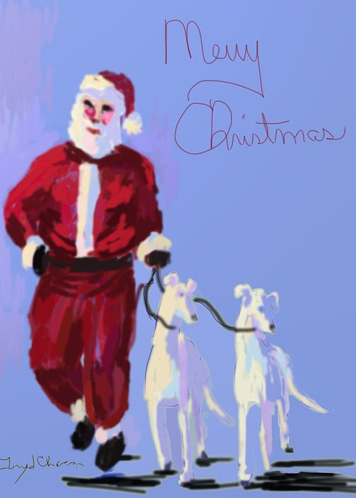 Greyhounds Greeting Card featuring the painting Santa Grey by Terry Chacon