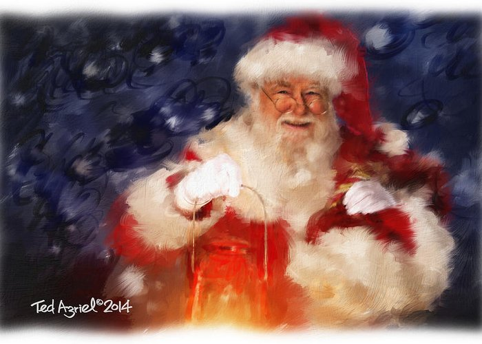 Painting Greeting Card featuring the painting Santa Is Comin' To Town by Ted Azriel