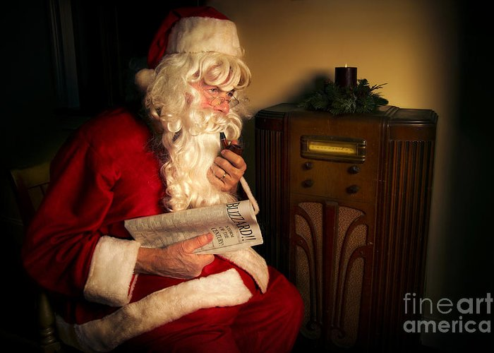 Santa Claus Greeting Card featuring the photograph Santa Listening To The Weather Report by Diane Diederich