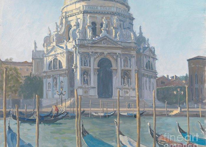 Italian Acrhitecture; Dome; Gondola Venetian; Exterior; Church; Neo-classical; Neoclassical Greeting Card featuring the painting Santa Maria Della Salute by Julian Barrow