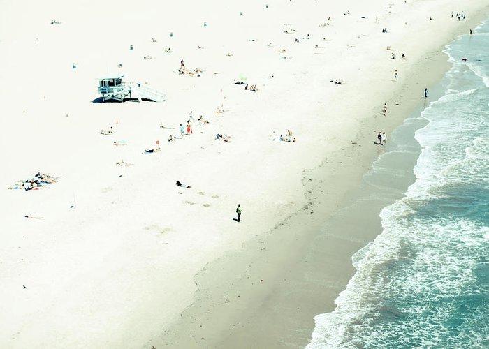 Water's Edge Greeting Card featuring the photograph Santa Monica Beach by Angela Auclair