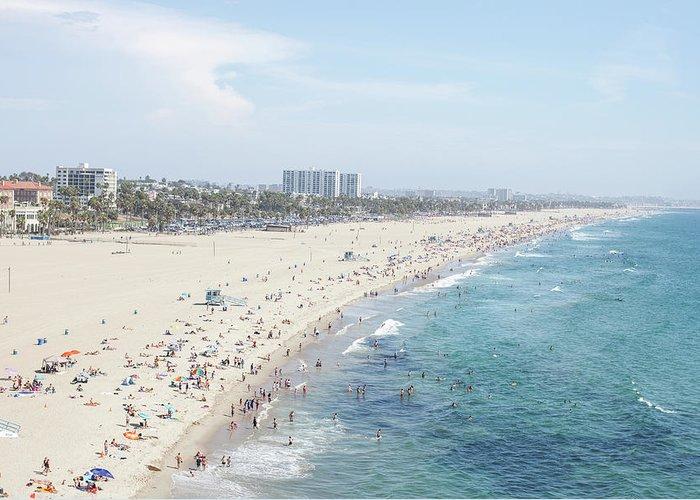 Crowd Greeting Card featuring the photograph Santa Monica Beach by Tuan Tran