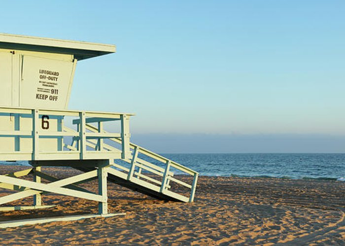 Water's Edge Greeting Card featuring the photograph Santa Monica Lifeguard Station by S. Greg Panosian