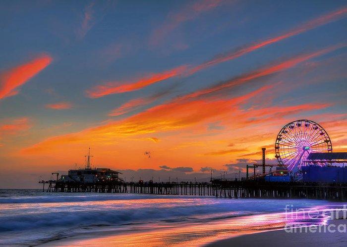 Santa Monica Pier Greeting Card featuring the photograph Santa Monica Pier At Dusk by Eddie Yerkish