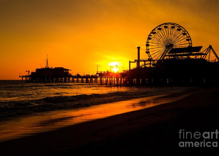 America Greeting Card featuring the photograph Santa Monica Pier California Sunset Photo by Paul Velgos