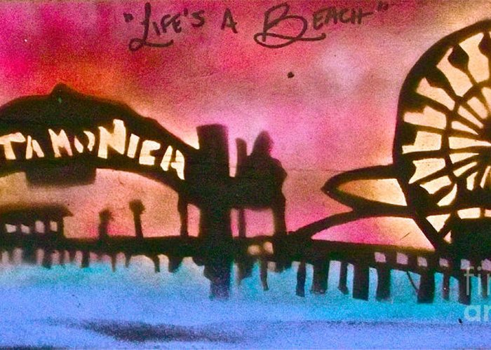 Graffiti Greeting Card featuring the painting Santa Monica Pier Red by Tony B Conscious