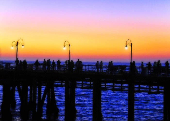 Landscape Greeting Card featuring the photograph Santa Monica Pier Sunset Silhouettes by Lynn Bauer