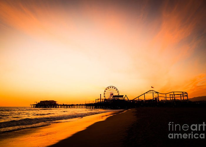 America Greeting Card featuring the photograph Santa Monica Pier Sunset Southern California by Paul Velgos